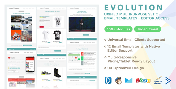 Evolution – UXified Multipurpose Set of Email Templates + Online Editor