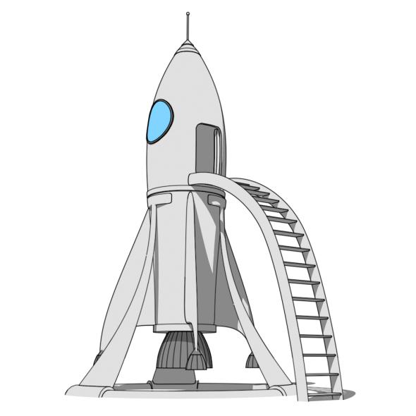 Cartoon Rocket Station - 3DOcean Item for Sale
