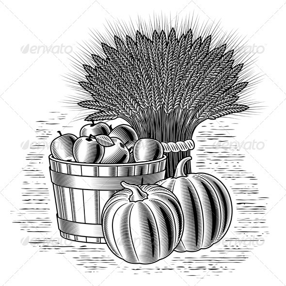 Retro Harvest Still Life Black And White - Food Objects