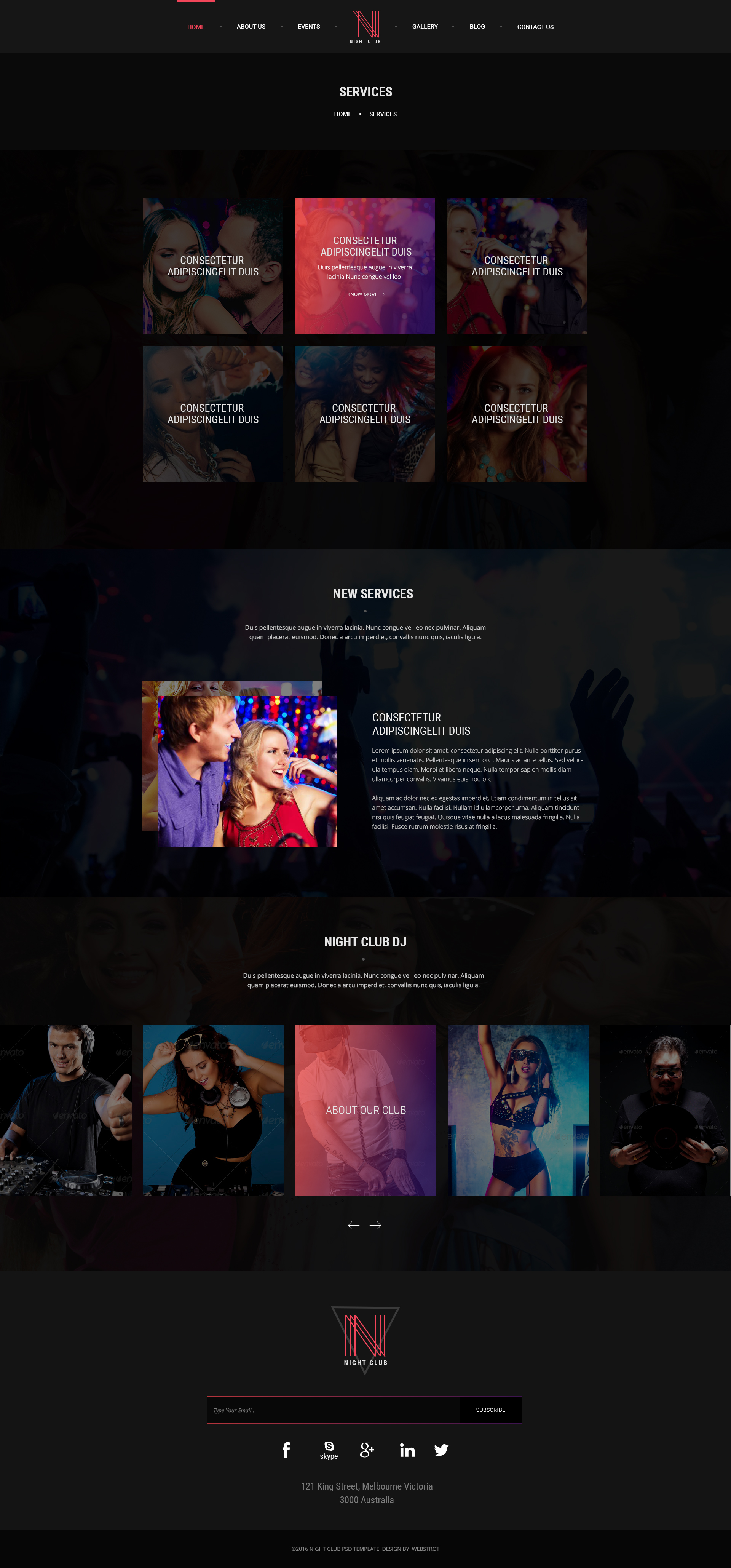 Night Club - Event, DJ, Party, Music Club PSD Template by webstrot
