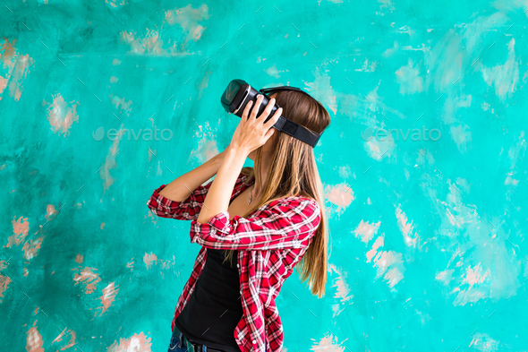 woman with virtual reality headset or 3d glasses - Stock Photo - Images