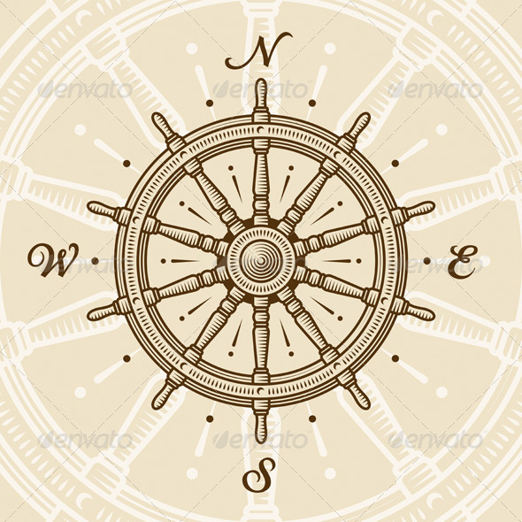 Vintage Ship Wheel - Travel Conceptual
