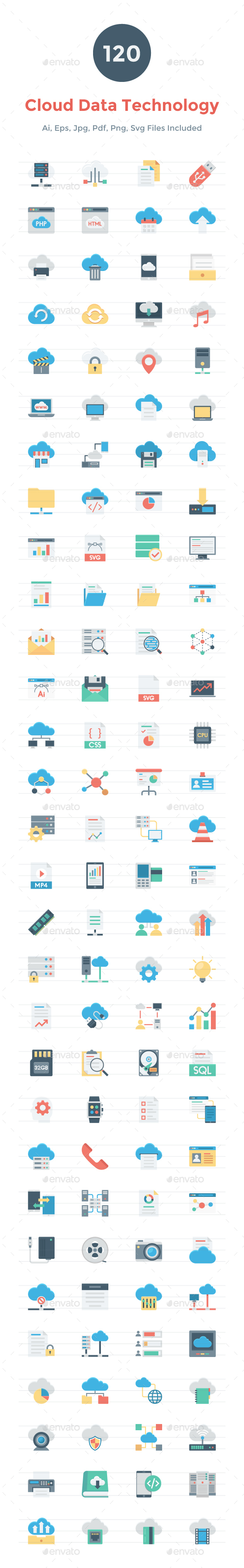 120 Flat Cloud Data Technology Icons - Icons