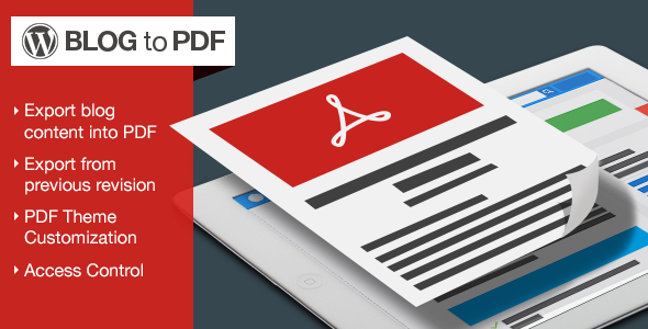 Blog to PDF Plugin for WordPress - CodeCanyon Item for Sale