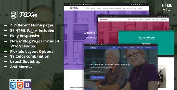 Tax69- Financial Consulting and Multi-purpose Business HTML5 Template