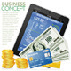 Financial Concept with Tablet PC, Dollars, Cards