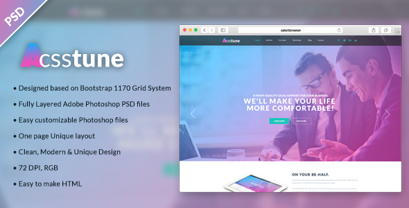 Acsstune – One Page Corporate PSD Template