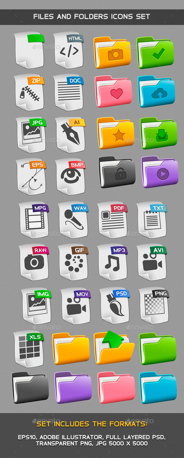 Files and folders icons set - Software Icons