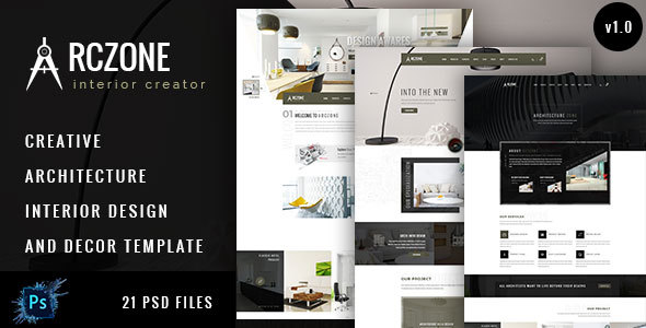 ARCZONE- Interior Design, Decor, Architecture Business Template.  - Corporate PSD Templates