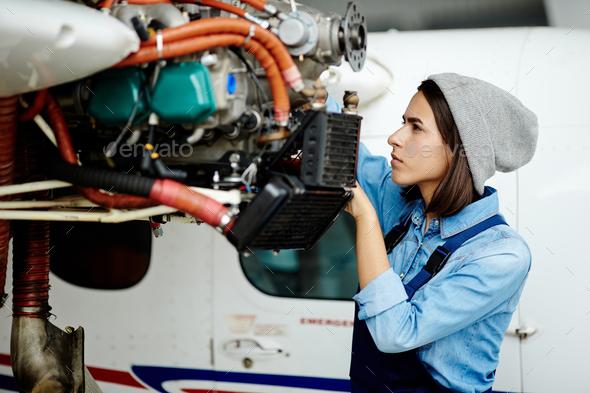 Repairing airplane motor - Stock Photo - Images