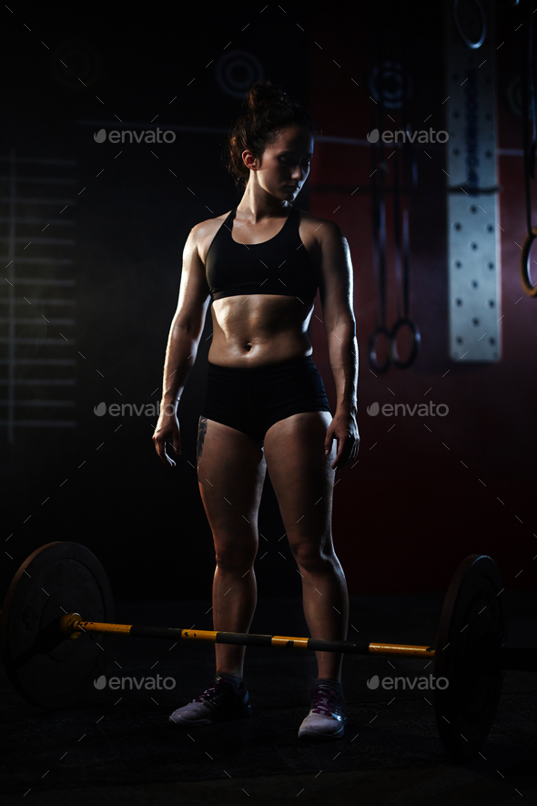 Sporty female in gym - Stock Photo - Images
