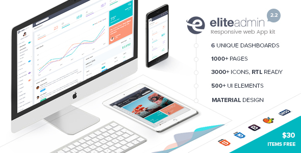 Elite Admin – Responsive Dashboard Web App Kit + Material Design
