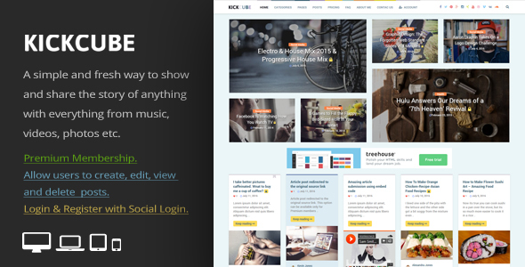 KICKCUBE – Membership & User Content Sharing Theme