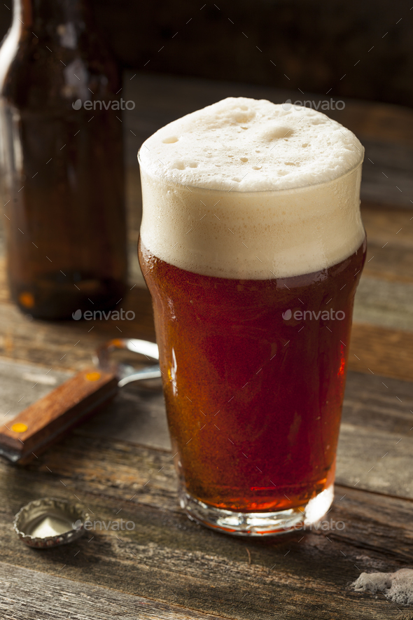 Refreshing Brown Ale Beer - Stock Photo - Images