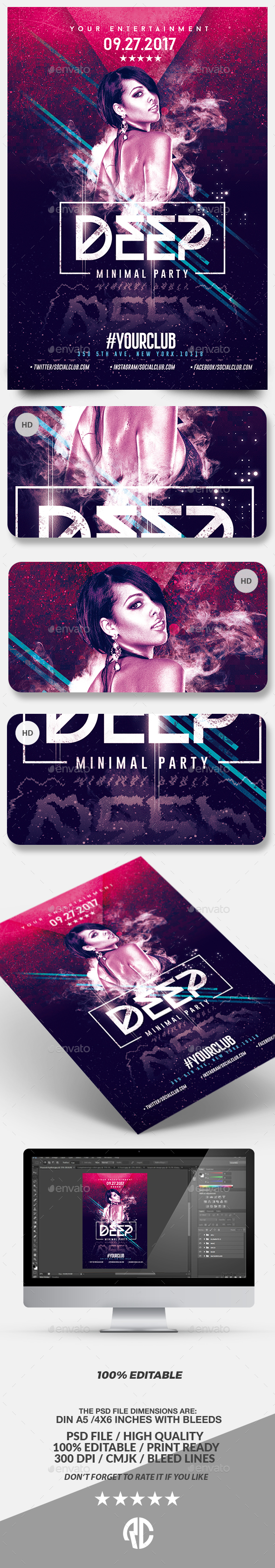 Deep Club Party | Minimal Flyer Template - Events Flyers