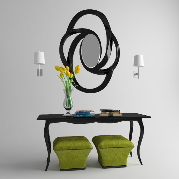 Console with mirror and poufs - 3DOcean Item for Sale