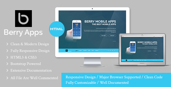BERRYAPPS – Responsive Mobile App – HTML Template