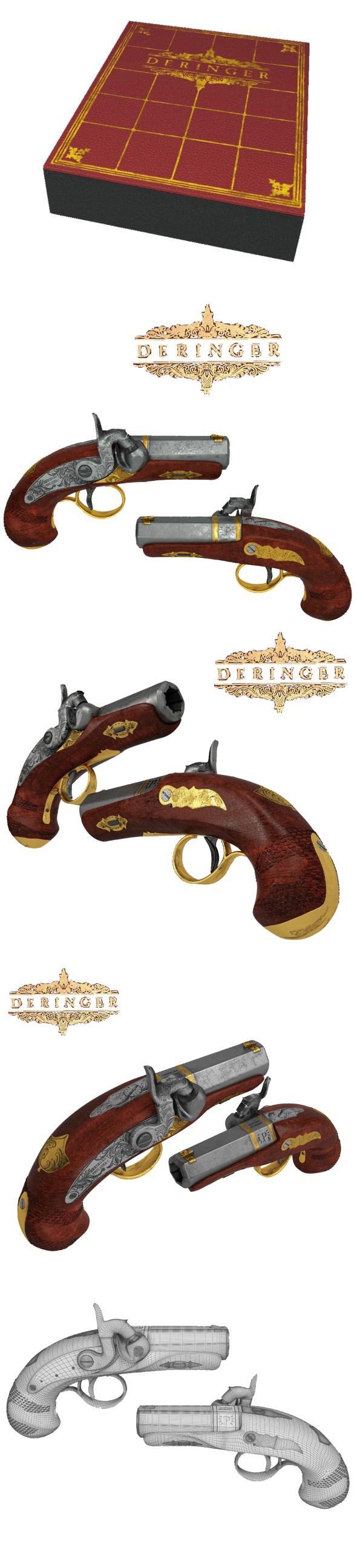 Weapon set of Philadelphia Deringer - 3DOcean Item for Sale