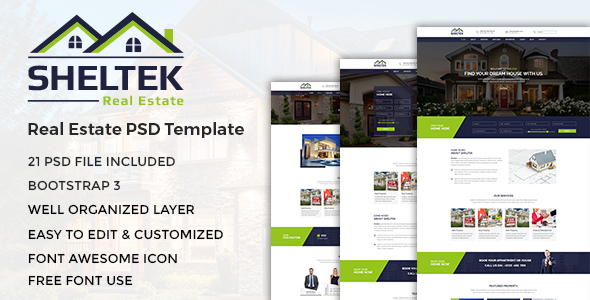 Sheltek - Real Estate PSD Template - Business Corporate