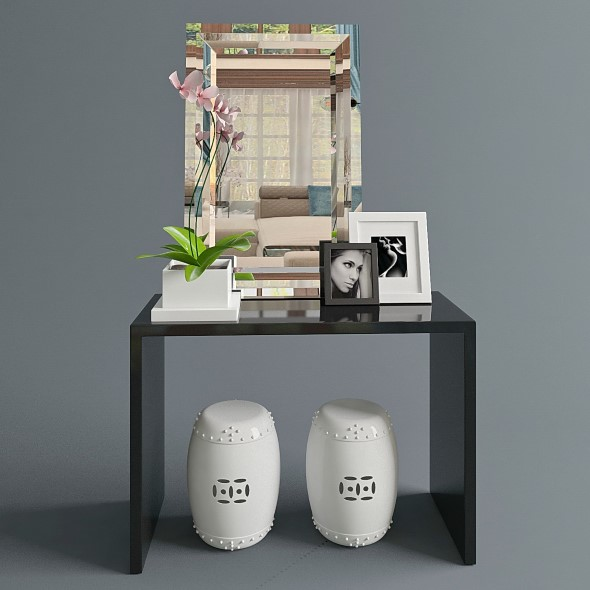 Console with orchid - 3DOcean Item for Sale