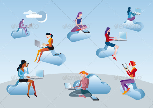 Cloud Computing Girls Sitting In Clouds - People Characters