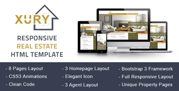 XURY – Real Estate Responsive HTML Template