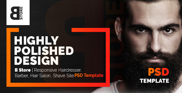 B Store | Responsive Barbers & Hair Salons PSD Template - Clean and Smart! - Health & Beauty Retail