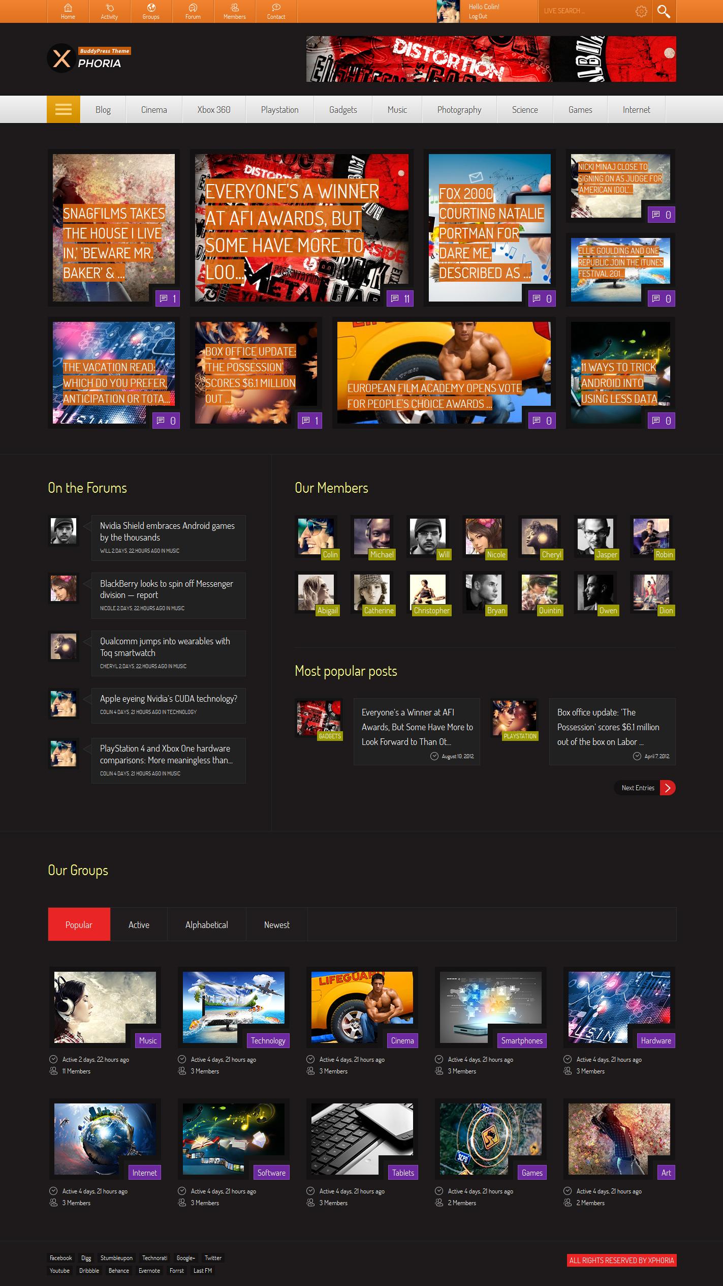 Xphoria - BuddyPress Theme by Diabolique | ThemeForest