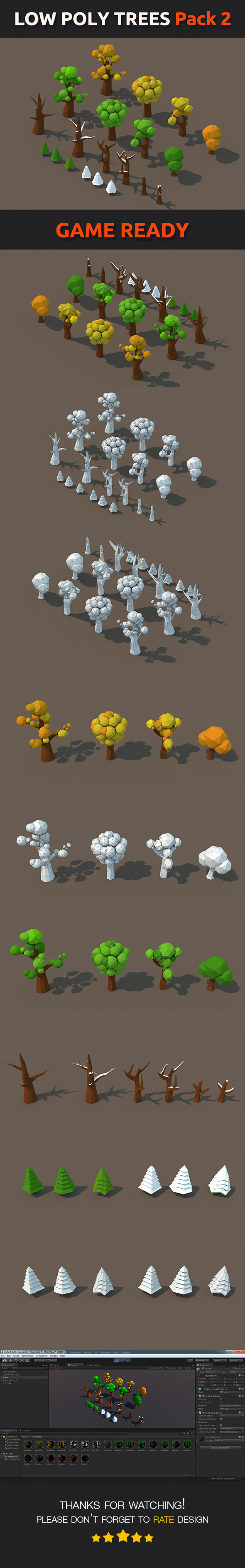Low Poly Trees Pack 2 - 3DOcean Item for Sale