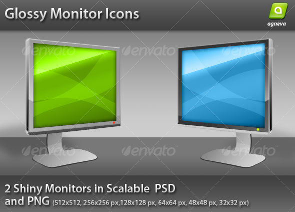 Glossy Monitor Icon - Media Icons