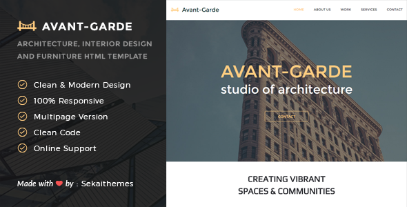 Avant-Garde – Architecture, Interior design & Furniture HTML Template