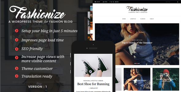 Fashionize – Responsive WordPress Blog Theme