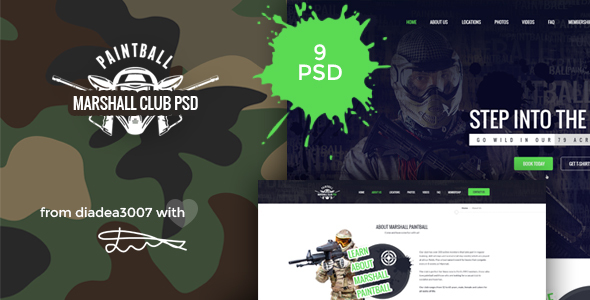 Marshall – Paintball Club PSD Template
