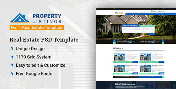 Property Listing – No. 1 Real Estate PSD Template