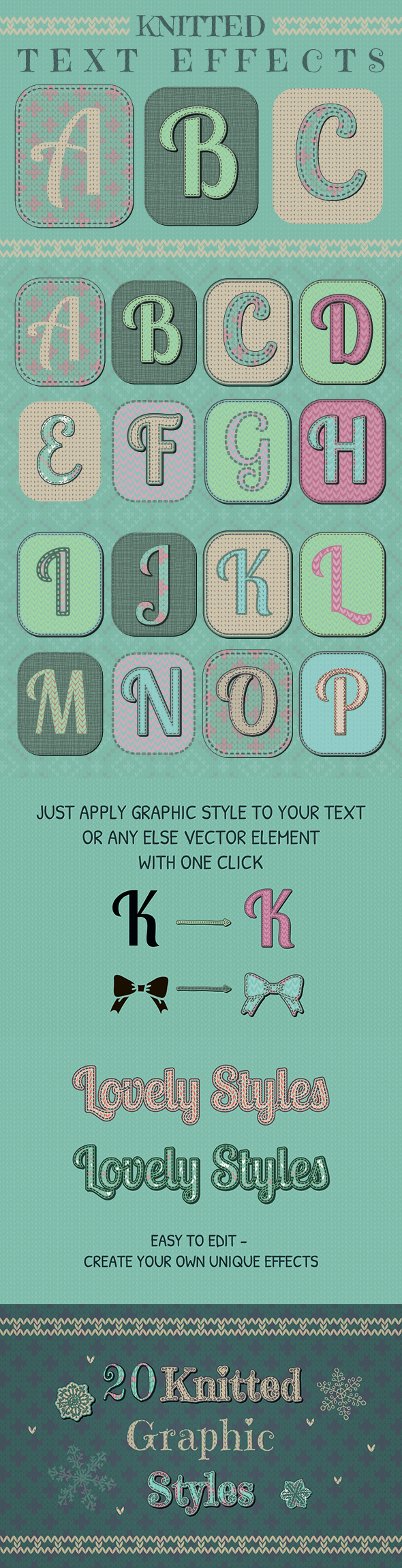 Knitted Text Effects. Graphic Styles - Styles Illustrator