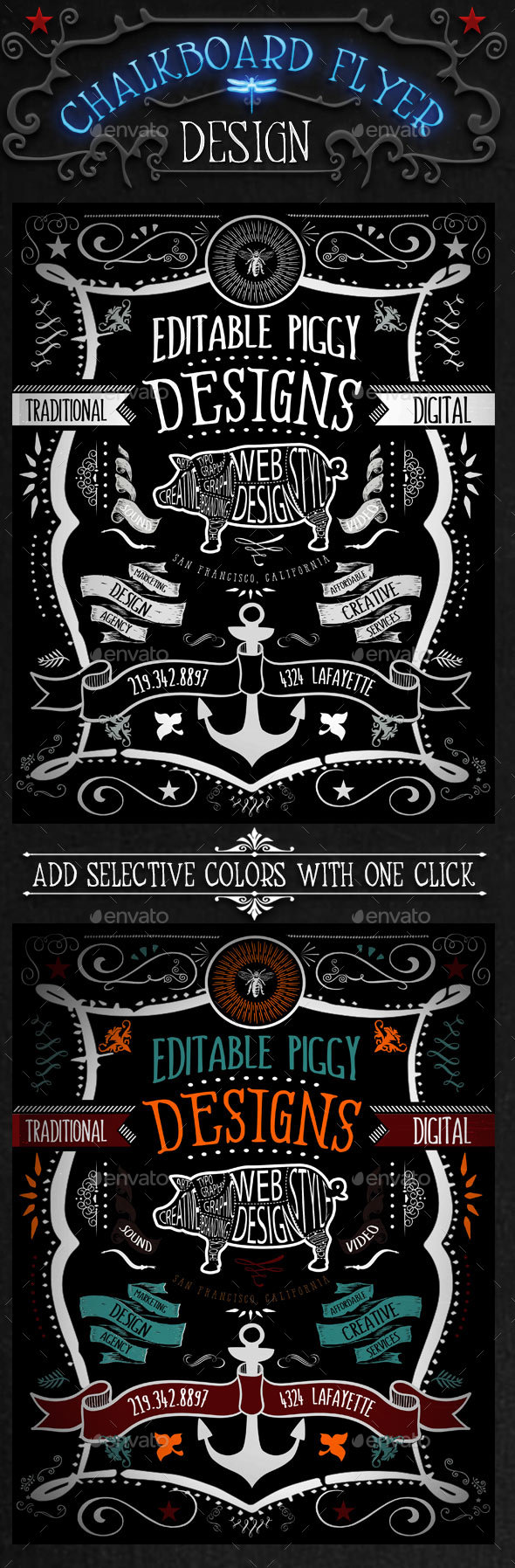 Chalkboard Flyer with OneClick Color - Miscellaneous Events
