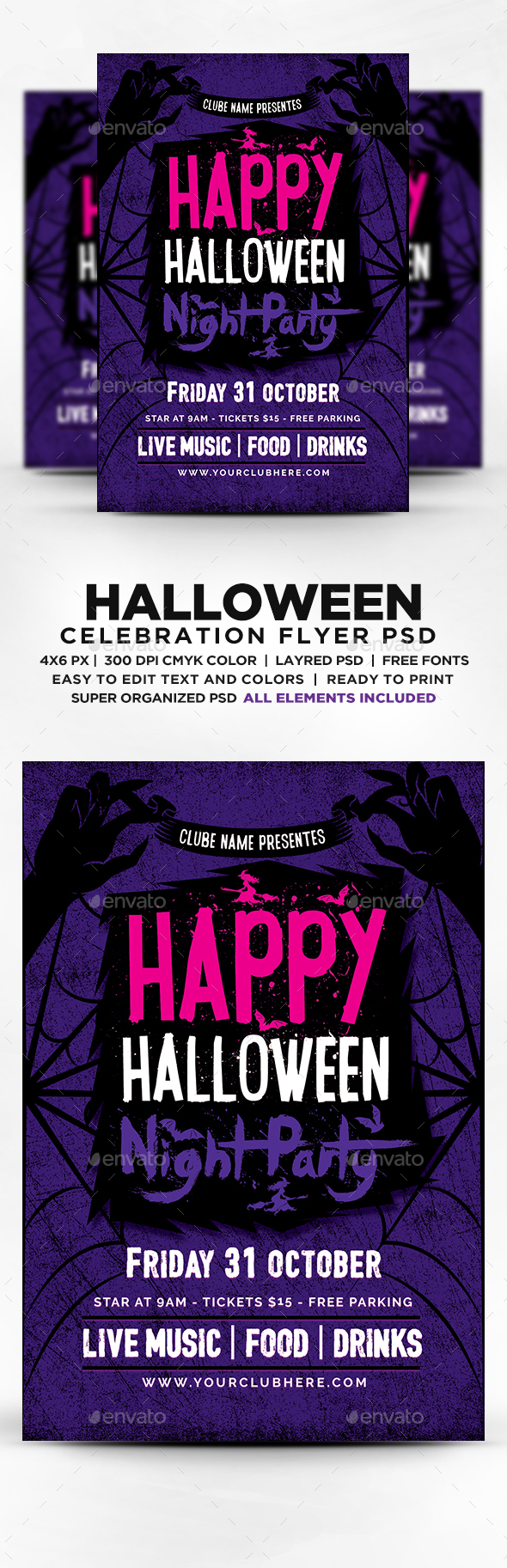 Happy Halloween Party Flyer Template PSD