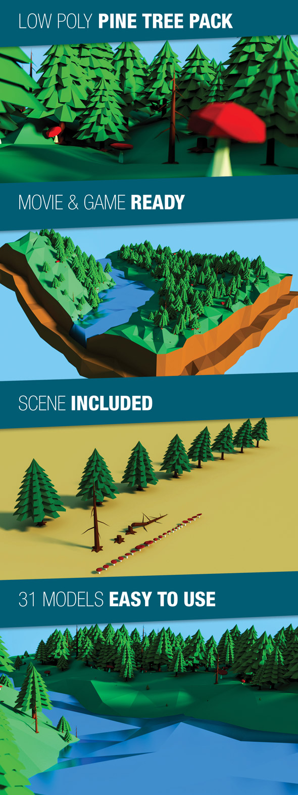Low Poly Pine Trees Pack - 3DOcean Item for Sale