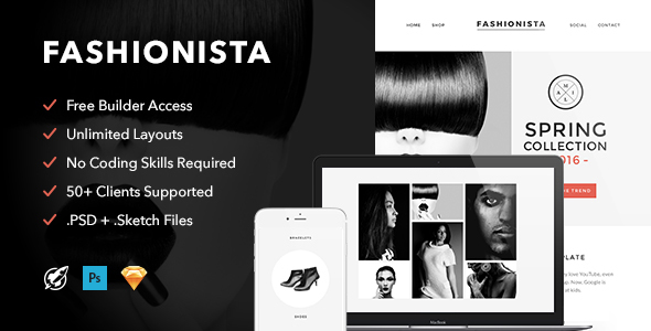 Fashionista - Responsive Email + Themebuilder Access - Email Templates Marketing
