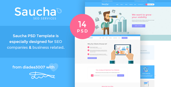 Saucha - Marketing & Seo PSD Template - Business Corporate