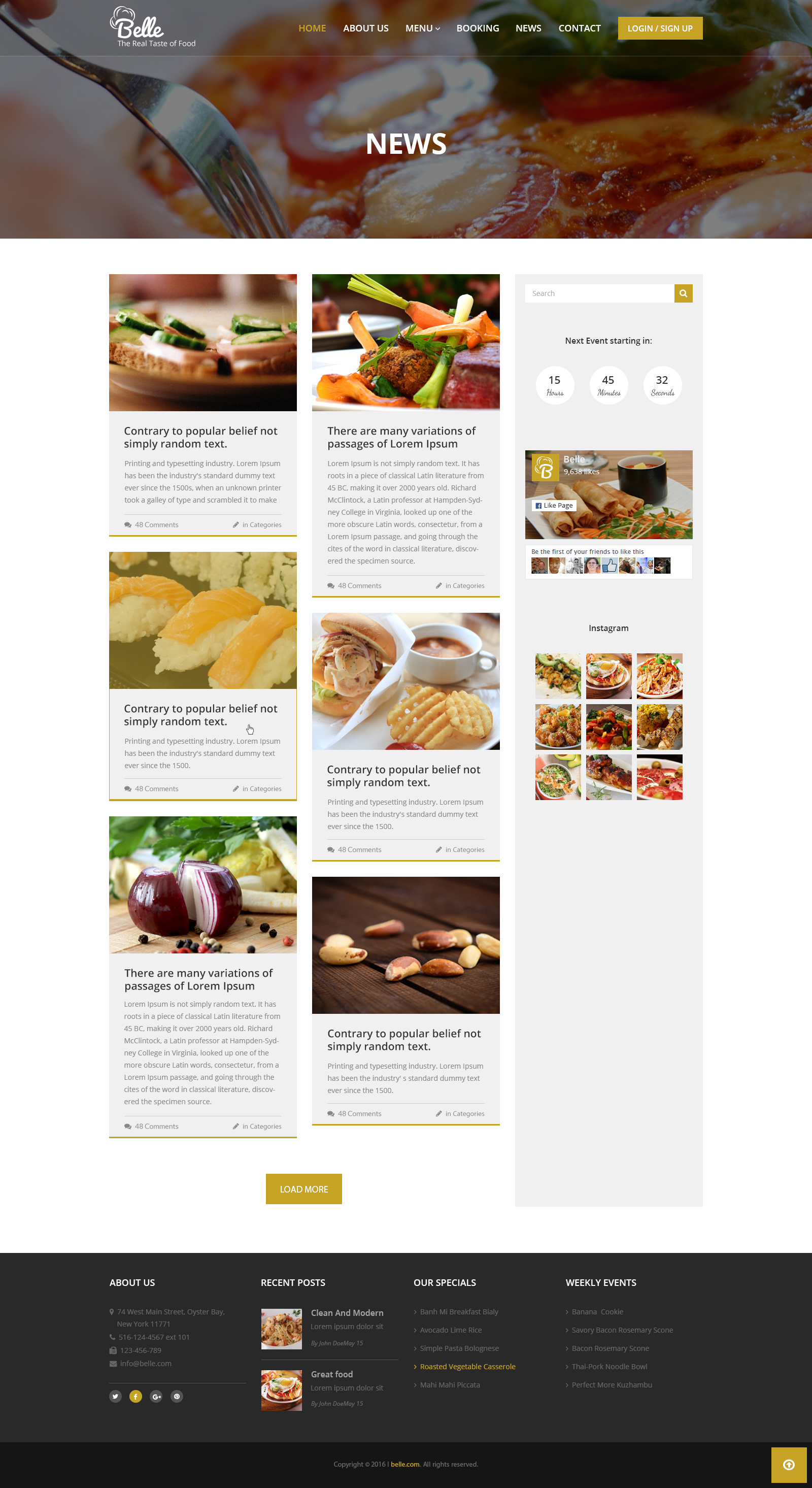 Belle Food Restaurant Html Template By Drcsystems Design