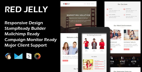 RED JELLY – Multipurpose Responsive Email Template + Stamp Ready Builder