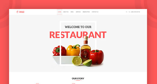 Shhaad - One Page Restaurant PSD Template