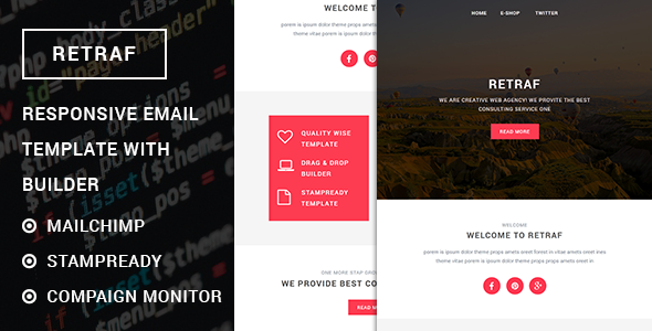 Retraf – Responsive Multipurpose Email template with Stampready builder