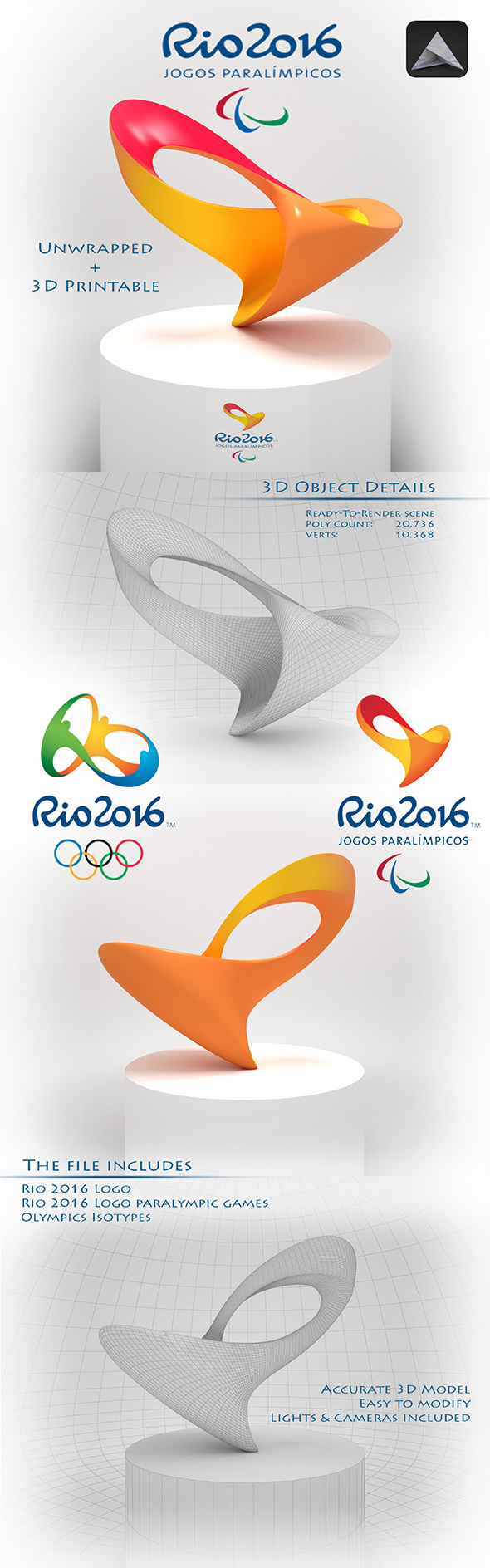 Rio 2016 Logo - 3DOcean Item for Sale