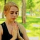 Mid Shot Young Woman Doing Yoga In Park - VideoHive Item for Sale