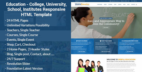 Education - College, University, School, Institutes Responsive HTML Template - Business Corporate