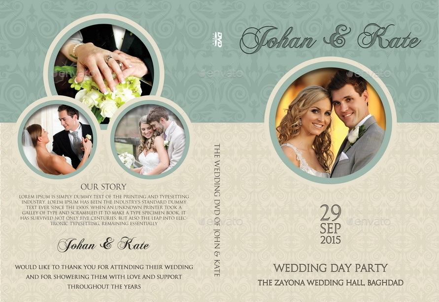Wedding DVD Cover And Label Template Vol8