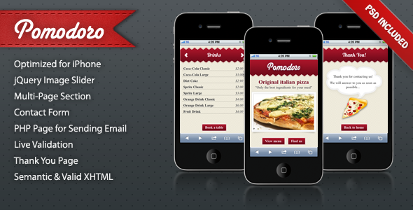 Pomodoro iPhone Landing Page - Mobile Landing Pages