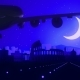 Rome Italy Airplane Landing Skyline Moonlight Night - VideoHive Item for Sale